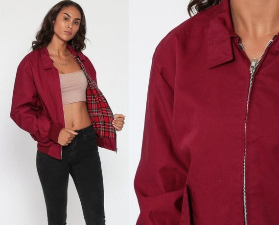 Burgundy Windbreaker Jacket 80s Bomber Jacket Cafe Racer Jacket Red Plaid Lined 80s Moto Jacket Vegan Vintage 1980s Lightweight Small Medium