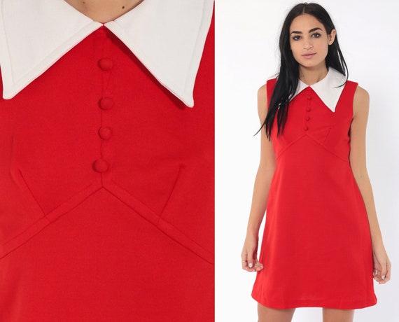 Red Babydoll Mini Dress 70s Mod Mini Vicky Vaughn EMPIRE Waist 60s Twiggy Gogo Boho Vintage Dolly Collar Go Go Sleeveless Small Medium
