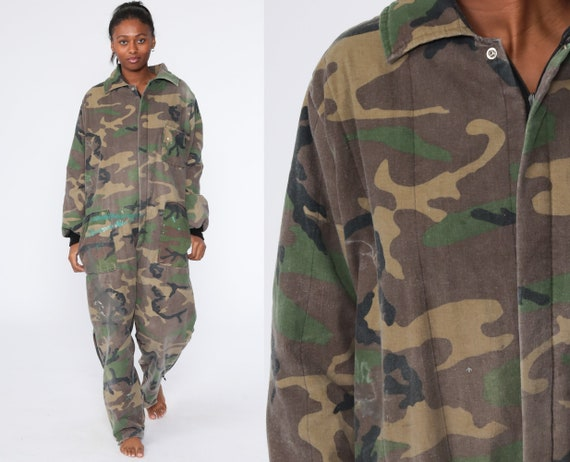 Insulated Camo Jumpsuit Army Coveralls Distressed