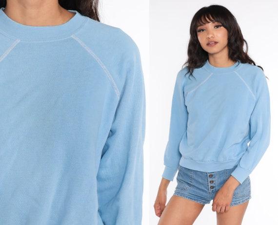 Baby Blue Crewneck Sweatshirt 80s Plain Long Sleeve Shirt Slouchy Vintage 1980s Sweat Shirt Medium