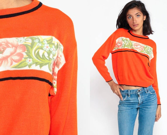 Floral Sweater 80s Boho Sweater Orange Graphic Print Knit Slouchy Pullover Vintage Hipster Jumper Large