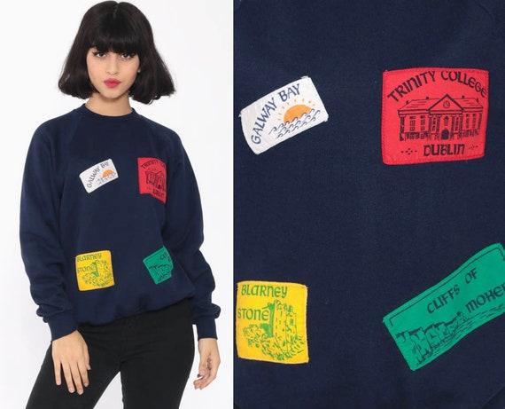 Ireland Patch Shirt 80s Dublin Sweatshirt Tourist Shirt Galway Retro Slouchy Jumper Pullover 90s Graphic Vintage Travel Small Medium