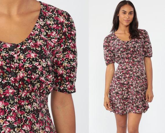 Floral Mini Dress Pink Black Grunge Mini 90s Button Up Dress 1990s Boho Vintage Minidress Sheath Short Puff Sleeve Summer Retro Small