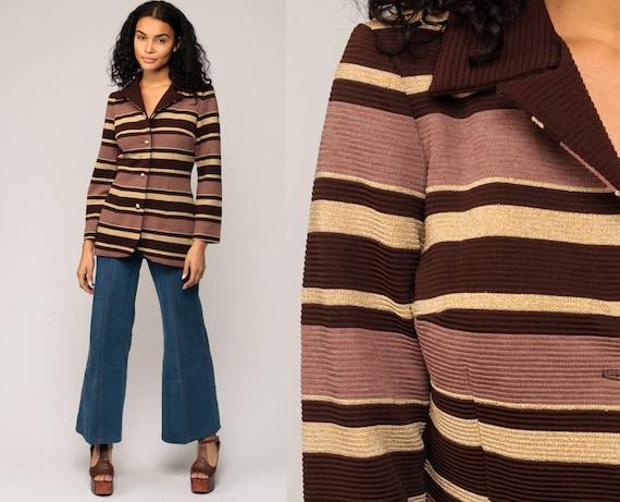 Striped Jacket 70s Coat Mod Jacket Brown GOLD Metallic Disco Polyester Vintage Boho Hippie Button Up Hipster Retro Bohemian Small