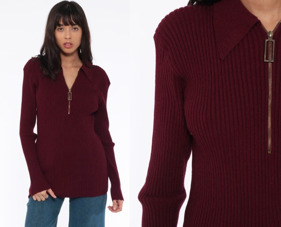 70s Burgundy Sweater Nerd Collared Knit Half Zip Pullover Tight Fitted Ribbed Retro Geek Vintage Jumper Shirt Extra Large Xl