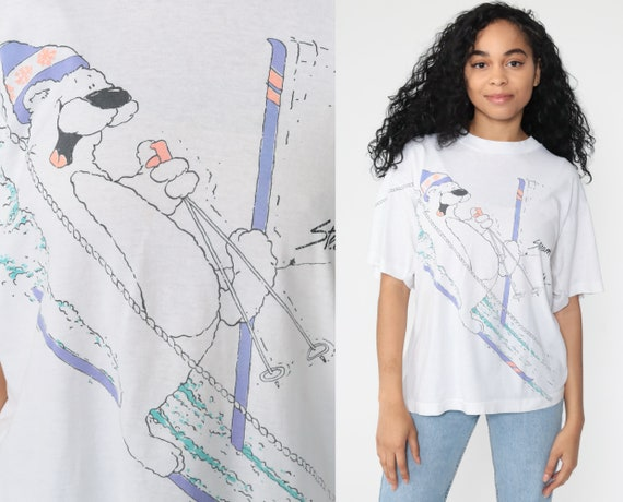 Steamboat Colorado Shirt Ski Bear Tee 80s Graphic TShirt Ski Resort Skiing Shirt Single Stitch Retro Vintage 90s White Extra Large xl l