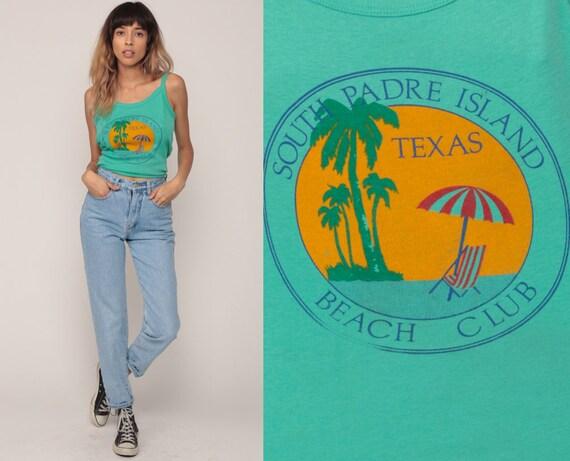 Beach Shirt Palm Tree Tank Top SOUTH PADRE ISLAND Texas Shirt 80s Camisole Tropical Graphic Retro Summer Vintage Green Spaghetti Medium