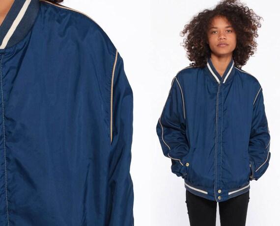 Blue Baseball Jacket -- 80s Cafe Racer Jacket Windbreaker Bomber Jacket 80s Jacket Coat Jacket Striped Coach 1980s Sportswear Medium Large