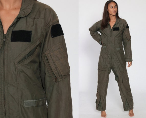 Flight Suit Military 90s Army Jumpsuit Coveralls Zip Up Grunge Pantsuit Cotton Vintage Long Sleeve Romper Dark Green 1990s Small Medium