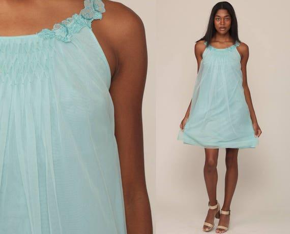 70s Nightgown Slip Dress Nylon Nightgown Lingerie Babydoll Mini Nightie Boho Baby Blue 1970s Pinup Vintage Lolita Pin Up Medium Large