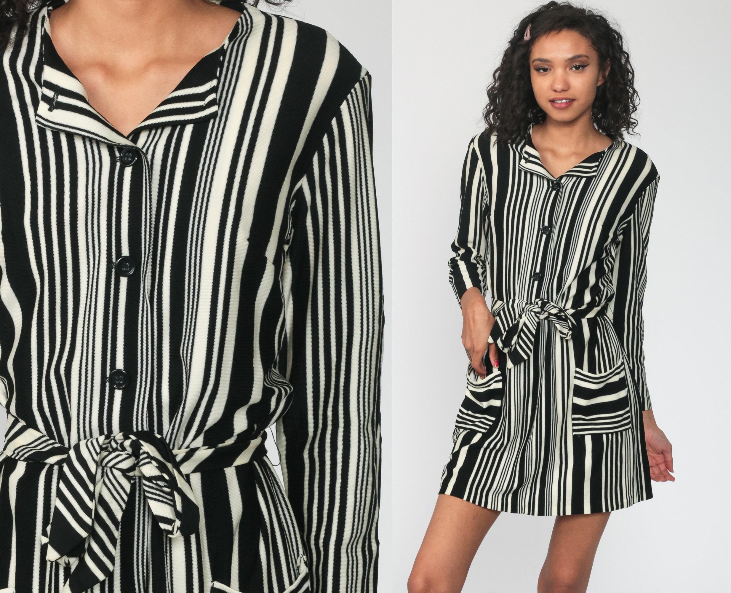 Black White Dress 70s Mini Dress
