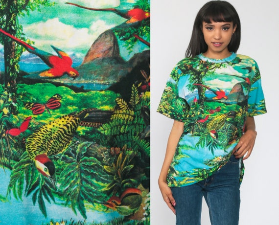 Bird RAINFOREST Shirt -- 90s Safari Brazil Jungle Tshirt 1990s Tropical Tshirt Vintage Green Mountain Nature Medium Large