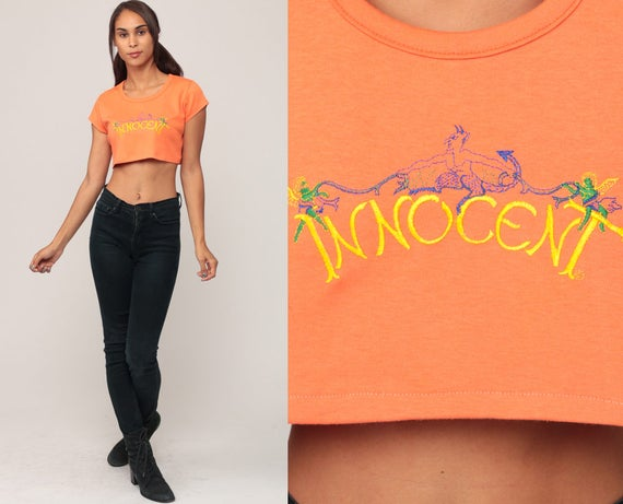 Innocent Shirt 70s Crop Top ANGEL & DEVIL Slogan T Shirt Orange Graphic Print 1970s Hipster Retro Tee Vintage Small Medium