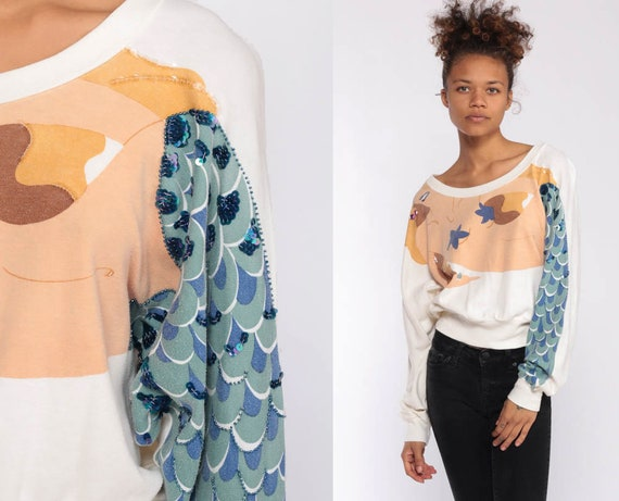MERMAID Sweatshirt 80s Sequin Shirt Dolman Sleeve Sweatshirt Cream Vintage Slouchy Kawaii Graphic Ocean Sweater 90s Summer Small