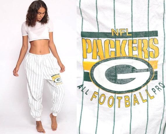 Football Sweatpants GREEN BAY PACKERS Pajama Pants Nfl Track Pants Gym Running Sports Vintage Retro Warm Up White Medium