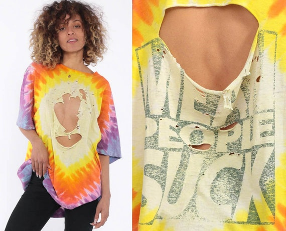 Destroyed Tie Dye Shirt MEAN PEOPLE SUCK Shirt 90s Tee Ripped Tshirt Distressed Grunge Hippie Psychedelic Festival Vintage Extra Large xl l