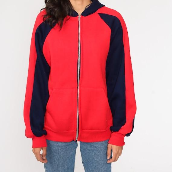Hoodie Sweatshirt Red Zip Up Sweatshirt 80s Hoode… - image 6