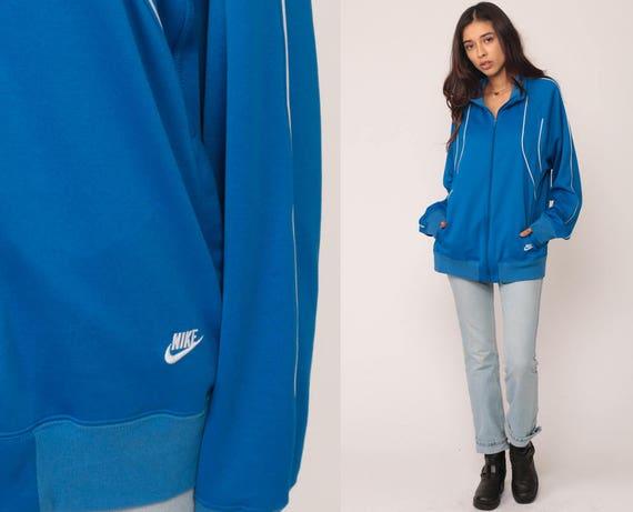Nike Track Jacket 80s Striped Zip Up Swoosh Retro Blue Jacket Athletic Streetwear Hipster 1980s Vintage Sports Jacket Large
