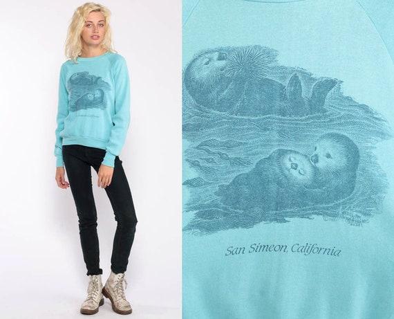 Sea Otter Shirt 80s Sweatshirt Animal Print Jumper Slouch Kawaii Graphic 1980s Sweater Vintage Raglan Sleeve Hipster Blue small Medium