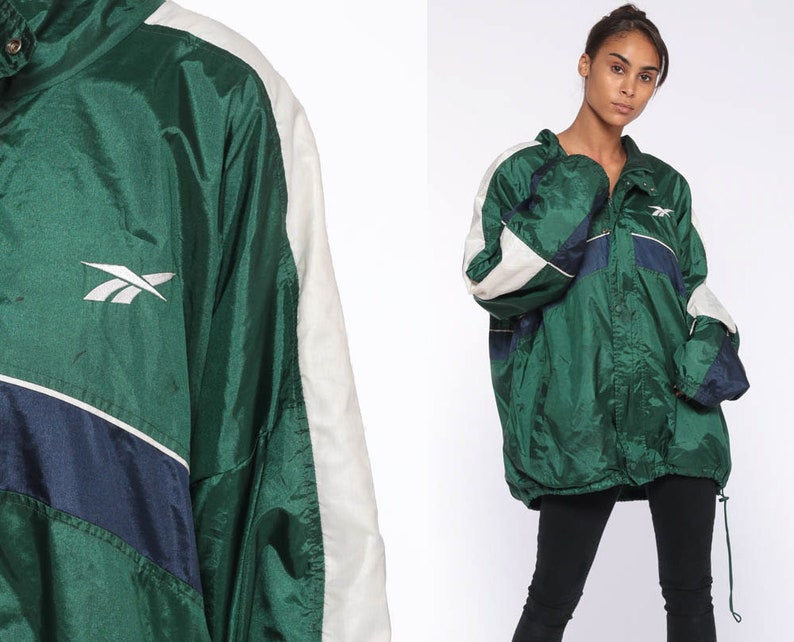 79cfda9a896a4 Reebok Jacket 90s Windbreaker Jacket Streetwear Warm Up Sports Hipster  Vintage Color Block Green Track Jacket Extra Large xl xxl