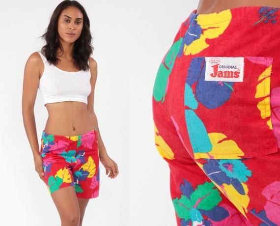 Tropical Floral Swim Shorts 80s Hawaiian Swim Trunks Red Original Jams Hibiscus Jungle Cotton Summer Retro Vintage 80s Swimsuit Small