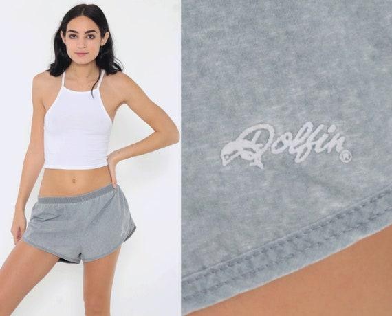 Vintage 80s Dolfin Shorts -- Grey Running Shorts Retro Richard Simmons Gym High Waist Retro Jogging Hotpants Vintage Hot Pants Large