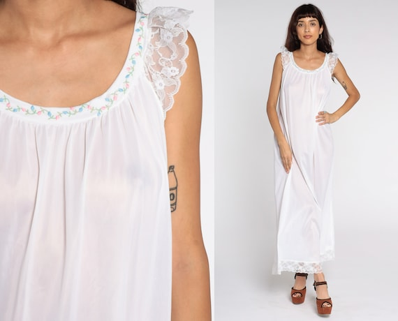 White Nightgown Tent Lingerie Slip Dress Nylon Lace Babydoll Maxi 70s Nightie Semi-Sheer Boho Long Vintage 1970s Bohemian Sleeveless Large