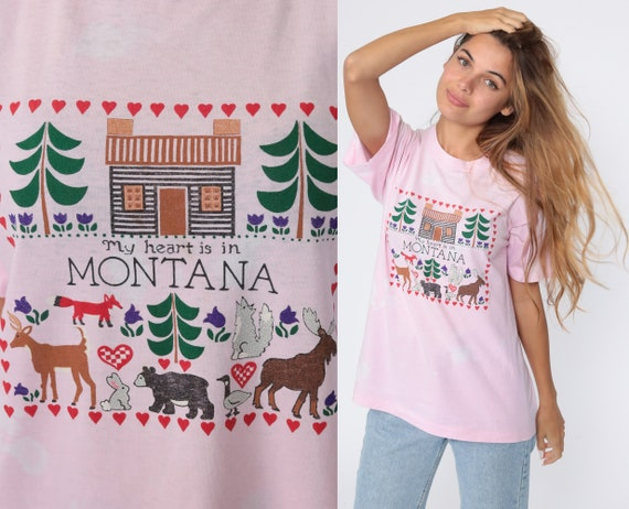 Montana Shirt My Heart Is In Montana Graphic Tee Screen Stars Single Stitch Retro TShirt Vintage Bleached Pink T Shirt 80s Small Medium