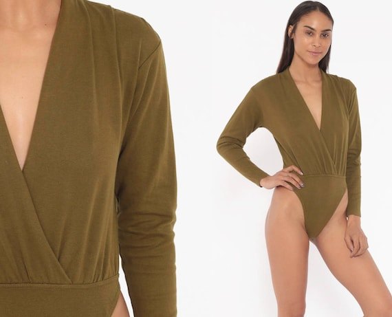 90s Bodysuit Olive Deep V Top Leotard PLUNGING High Cut Bodysuit Grunge Shirt Army Green Blouse 1990s Vintage Long Sleeve Medium