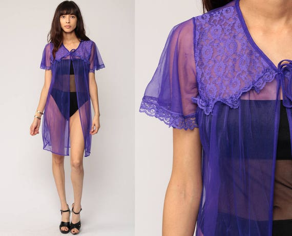 Lingerie Robe Jacket Purple Sheer Lace 80s Boho Bed Jacket TRAPEZE Lingerie Kimono Robe 70s Flutter Sleeve Bohemian Vintage Medium