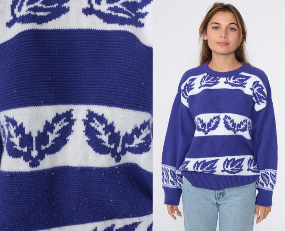 Purple Leaf Sweater 80s Sweater Knit Slouchy Pullover Jumper White Striped 1980s Vintage Retro Acrylic Medium