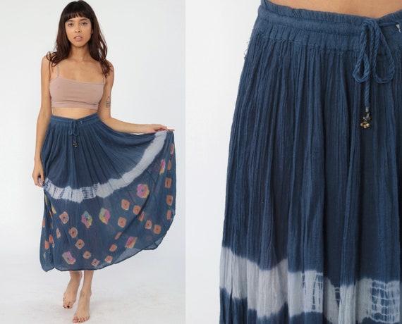 Tie Dye Skirt Boho Hippie Skirt Gauze Skirt 90s Midi Bohemian Vintage Broomstick Gypsy Blue Festival Extra Small Medium large