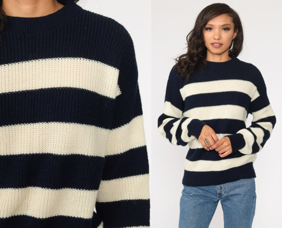 Striped Sweater Off-White Navy Blue Sweater 80s Knit Sweater Slouchy Pullover Jumper 1980s Vintage Retro Large