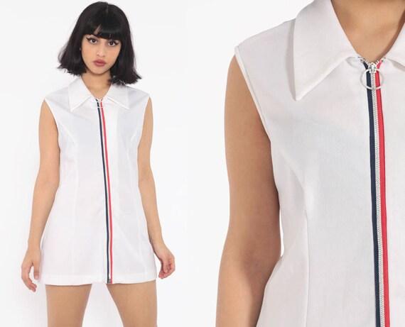 White Mini Dress 70s Shift Micro Tennis Dress 1970s Vintage Sleeveless White Blue Plain Twiggy Zip Up Space Age Minimalist Medium Large