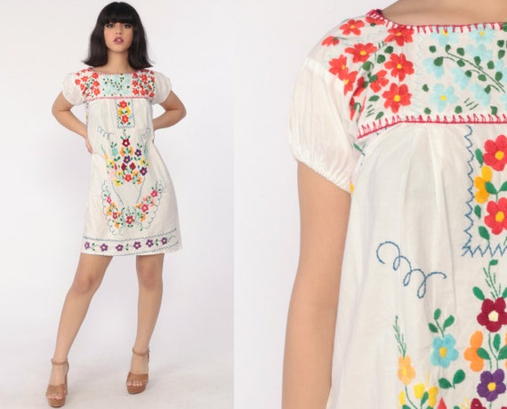 Mexican Embroidered Dress 80s White Mini Boho Cotton Tunic Hippie Floral Ethnic Bohemian Vintage Traditional Embroidery Extra Small xs