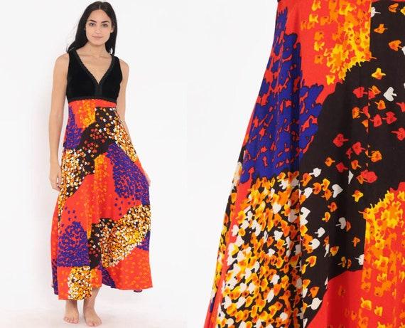Psychedelic Velvet Dress 70s Boho Hippie Maxi Party Orange Black 1970s Party Bohemian Gown Vintage Empire Waist Sleeveless Small