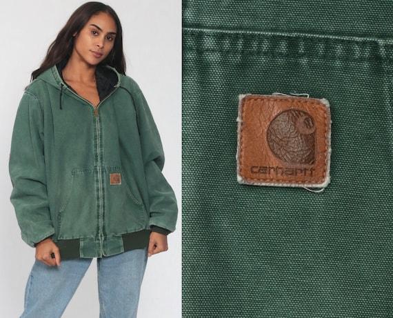 90s Carhartt Jacket xl Green Hooded Jacket Hoodie Cargo Kangaroo Pocket Hood Coat Utility Vintage Workwear 1990s Streetwear Extra Large 2XL