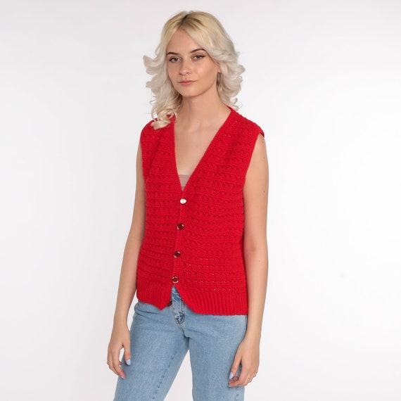 Crochet Vest Red Knit Top 70s Hippie Boho Vest Op… - image 2