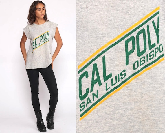 Cal Poly Shirt University T Shirt 80s Tshirt California Polytechnic State College Champion Distressed Graphic Retro Vintage T Shirt Medium