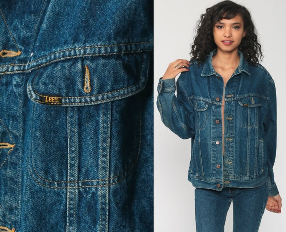 90s Jean Jacket LEE Denim Jacket Blue Jean Jacket Stone Vintage 80s Biker Button Up Trucker Jacket Oversized Blue Medium Large