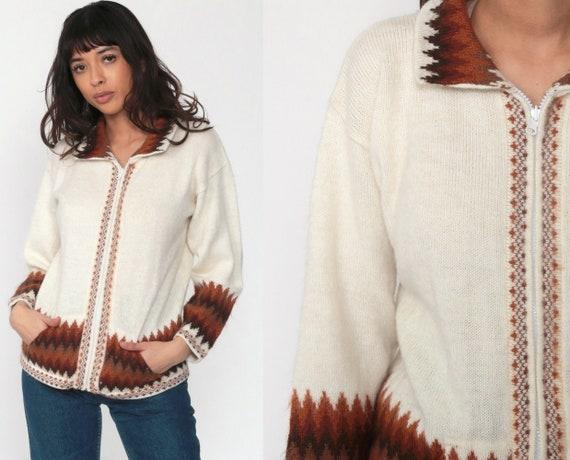 ALPACA WOOL Sweater Y2K Boho Cardigan Knit Peruvian Sweater Ethnic Peru Sweater Vintage South American Bohemian Zip Up Cream Brown Small