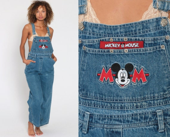 Mickey Mouse Overalls Jerry Leigh Denim Overall Disney Overall Pants Bib Cartoon Kawaii 90s Grunge Jean Blue Woman Vintage Small