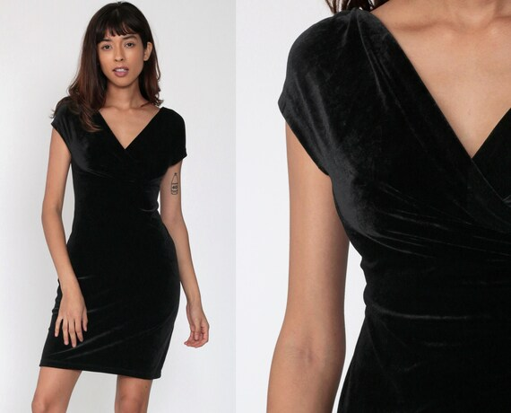 Velvet Mini Dress 90s Grunge Black Party Dress Bodycon Cap Sleeve Shift Sheath 1990s Cocktail Vintage Gothic Witch Minidress Small