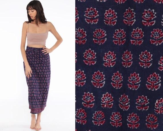 Batik Skirt Maxi Wrap Skirt Floral Skirt Boho Hippie Skirt 90s Bohemian Skirt Blue Indian Vintage Long Festival  Small Medium Large