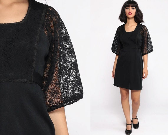 Black Babydoll Dress 70s Mini Dress Bohemian ANGEL