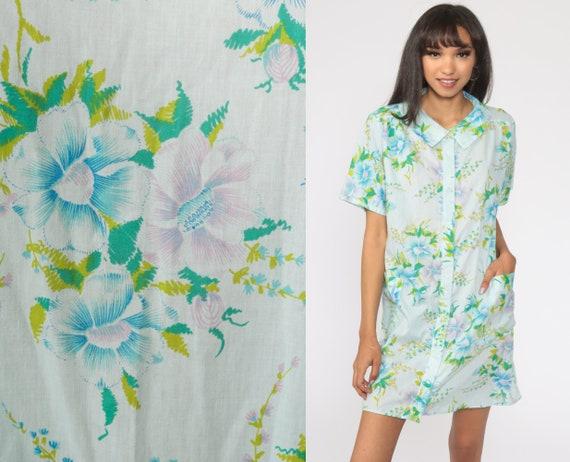 60s Lounge Dress Baby Blue Floral Dress Boho Dress Hippie Smock 70s Vintage Bohemian Retro Tunic Shift Button Up Large