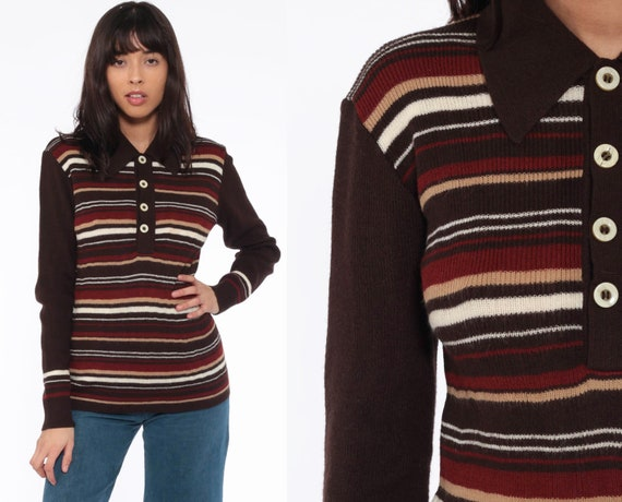Brown Striped Sweater 70s Polo Knit Retro Stripe Print Slouchy Freaks and Geeks 1970s Vintage Pullover Jumper Button Up Small