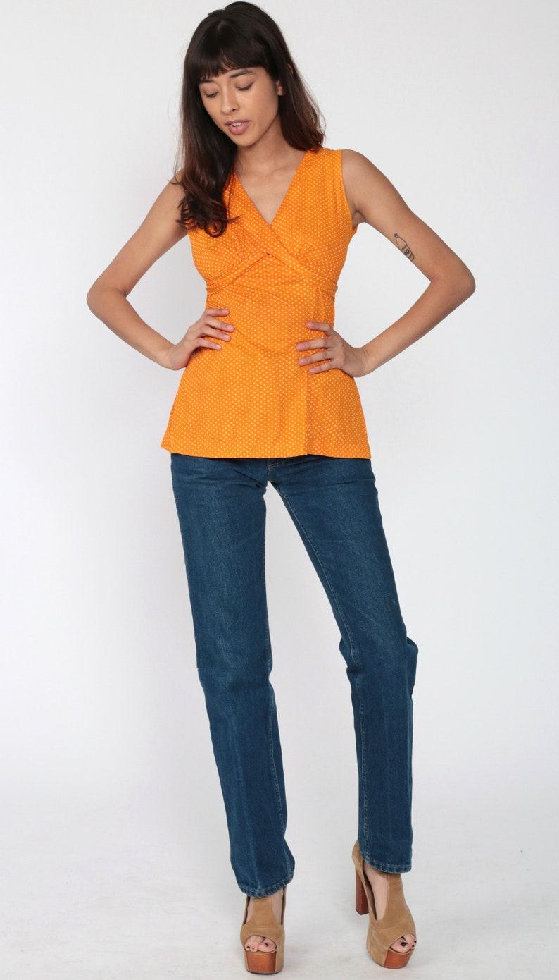 70s Babydoll Top Orange Polka DOt Shirt Boho Top 70s Blouse Tank Top Vintage 1970s Hippie Bohemian Sleeveless Shirt V Neck Extra Small xs