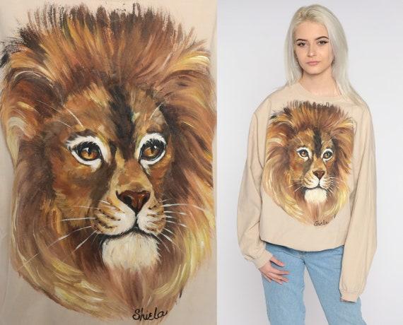 Hand Painted Lion Shirt Animal T Shirt 80s Slouchy Art Shirt Vintage Tshirt Graphic Long Sleeve t shirt Shiela Extra Large xl