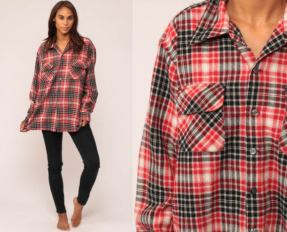 Wool Plaid Shirt 70s Flannel Black Red Plaid 1970s Lumberjack Button Up Long Sleeve Vintage Tartan Large